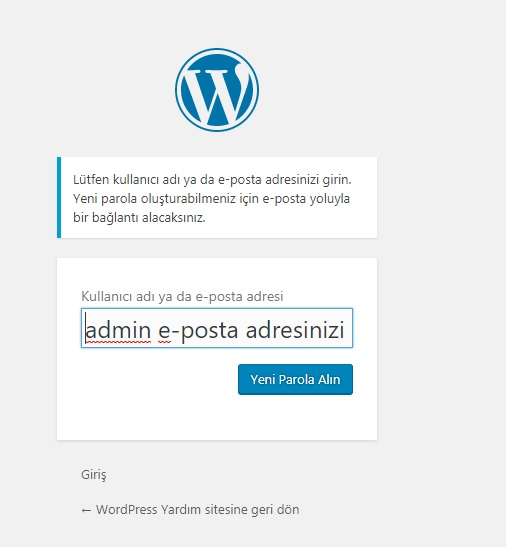 wordpress admin şifresini unuttum